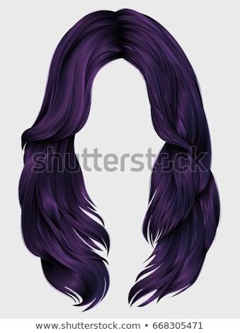Kadın mor peruk gülümseme moda model Stok fotoğraf © photography33