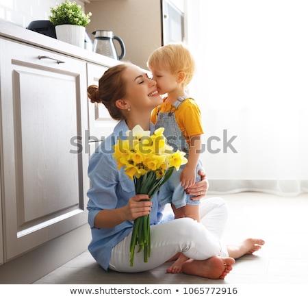 Fiú anya virágok család férfi boldog Stock fotó © photography33