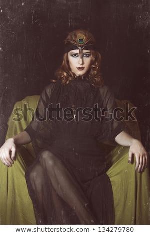 Vörös hajú nő lány 20-as évek stílus arc fiatal Stock fotó © Massonforstock