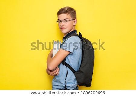 cute · nastolatek · odizolowany · biały · listonosz - zdjęcia stock © RAStudio