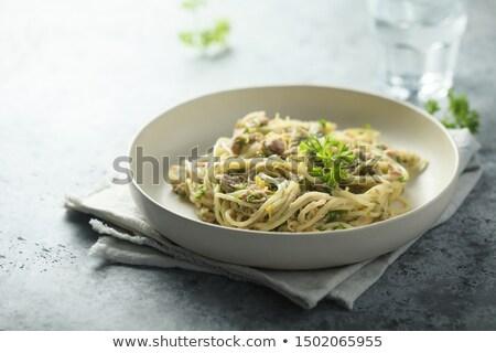 Stock fotó: Spagetti · tonhal · olasz · edény · tészta · hús