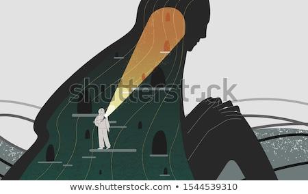 Keresés inspiráció fiatal srác felfelé néz gyermek gondolkodik Stock fotó © silent47