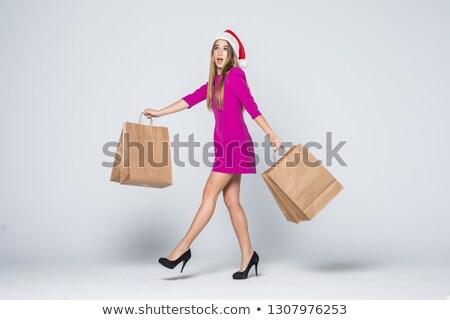 natal · mulher · de · negócios · seis · presentes · em · pé - foto stock © oleksandro
