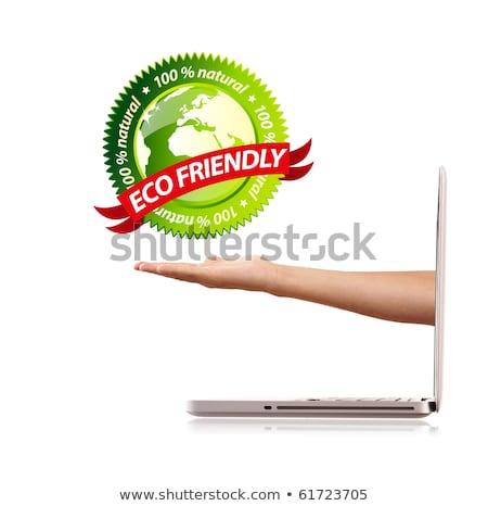 Hand holding ecofriendly sign Stock photo © ra2studio
