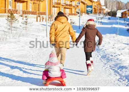 Rear view of couple holding hands and walking on the bright snow Stock photo © maxpro