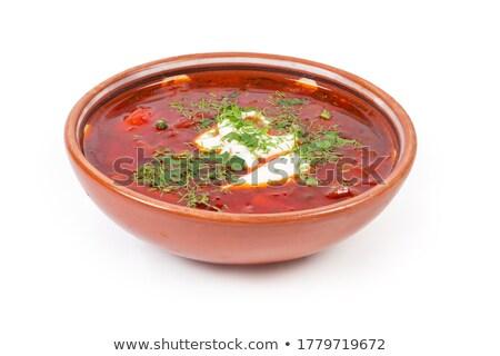 Geleneksel çorba sebze et kahverengi ekmek Stok fotoğraf © zhekos