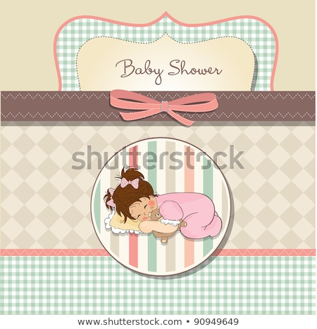 baby shower card with little baby girl play with her teddy bear toy stock photo © balasoiu