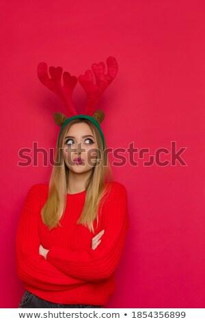 Jeunes blond femme Noël déguiser Photo stock © photography33