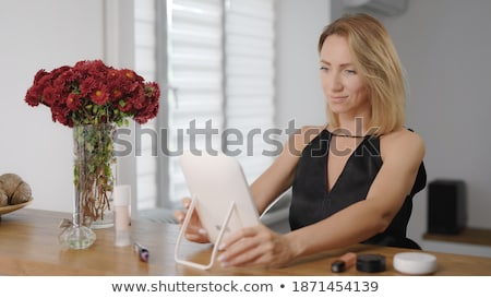 Foto stock: Retrato · elegante · mulher · loira · pronto · noite · moda