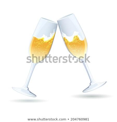 şampanya cam bağbozumu mutlu içmek beyaz Stok fotoğraf © rogerashford