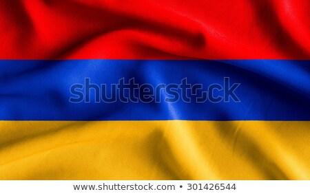 kumaş · doku · bayrak · Ermenistan · mavi · yay - stok fotoğraf © maxmitzu