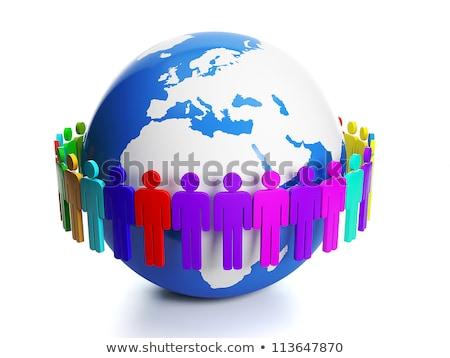 ilustração · 3d · grupo · diferente · pessoas · em · torno · de - foto stock © kolobsek