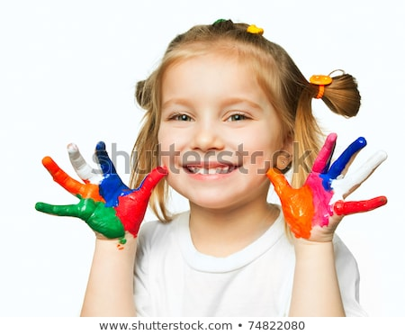 cute little girl with painted hands isolated on white backgroun stock photo © dacasdo