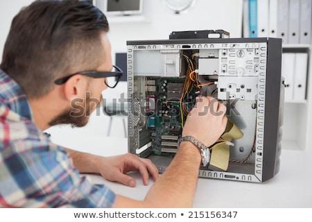 Számítógép mérnök javít processzor munkahely portré Stock fotó © wavebreak_media