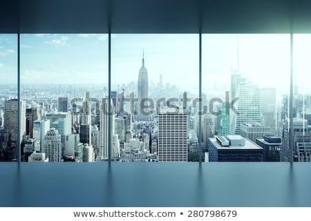 Glas Stadt abstrakten 3d render Himmel Haus Stock foto © ixstudio
