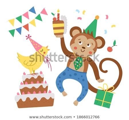 macaco · convite · ilustração · bonitinho · desenho · animado · sorrir - foto stock © kariiika