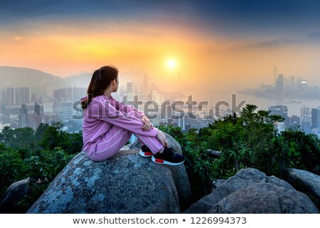 Hong Kong Victoria Peak Asian tourist woman Stock photo © Maridav