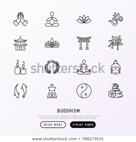 Vector icon boeddhisme kaars Stockfoto © zzve