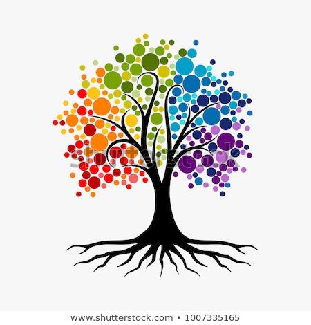 болван · дерево · цветы · глазах · вектора · eps8 - Сток-фото © allegro