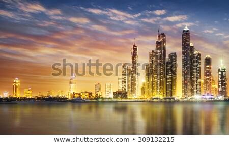 Dubai marina alkonyat pálma sziluett kilátás Stock fotó © SophieJames