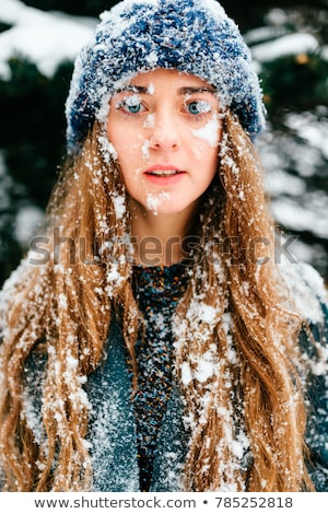Portre güzel kız don yüz gözler kar Stok fotoğraf © HASLOO