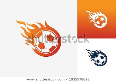 llameante · balón · de · fútbol · vuelo · negro · vector · eps - foto stock © krisdog