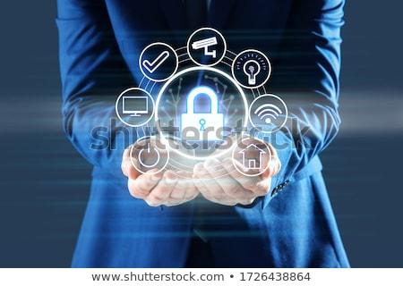 データ保護 暗い デジタル 文字 青 色 ストックフォト © tashatuvango