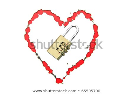 paper with burnt in heart shape with pad lock concept Stock photo © vichie81