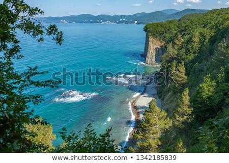 Stockfoto: Zwarte · zee · golven · bergen