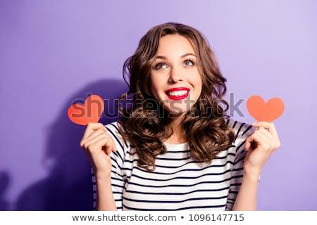 Bella donna cuore guardare tenero intimità Foto d'archivio © stryjek