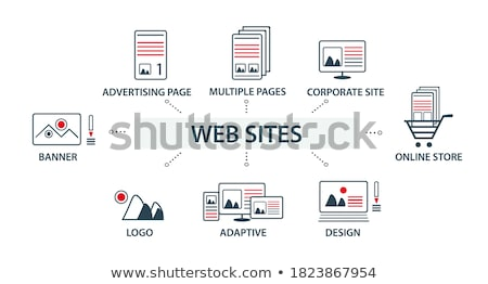 Set of Flat vector design illustration web icons and logos of website optimization. Isolated on styl stock photo © brainpencil