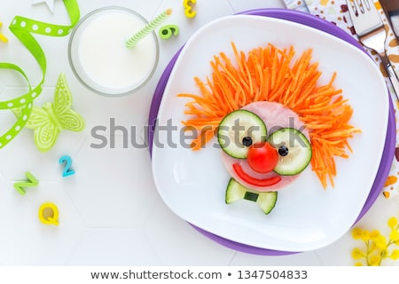 gezicht · schotel · groenten · vrouw · haren · vruchten - stockfoto © c-foto