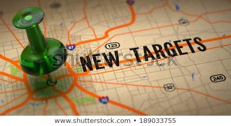nieuwe · markten · groene · kaart · selectieve · aandacht · teken - stockfoto © tashatuvango