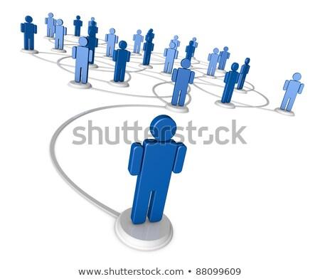 Ikon emberek vonal egy piros elöl Stock fotó © eyeidea