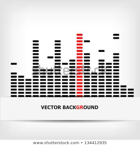 white digital equalizer background on red   vector illustration stock photo © sdmix