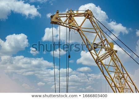 Foto stock: Alto · guindaste · blue · sky · fechar · edifício