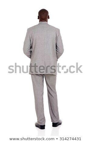 Stock photo: African American businessman isolated on white Rear View