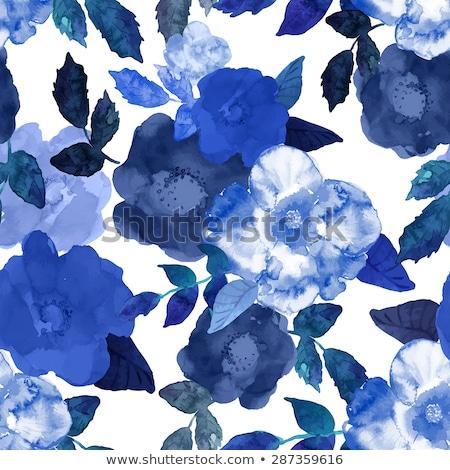 Fiore blu pattern giallo buio blu fiori Foto d'archivio © MilAlena