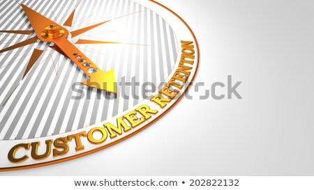 Marke Loyalität weiß golden Kompass Nadel Stock foto © tashatuvango