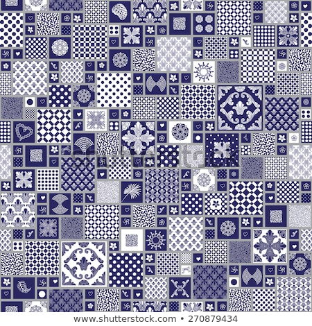 White squares with blue dots tile ornament Stock photo © Zebra-Finch