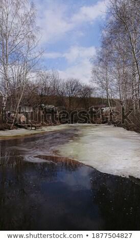 Jeges falu tavacska kicsi ház fürdik Stock fotó © vavlt