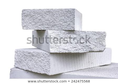 építőmunkás · agyag · téglák · fehér · építkezés · háttér - stock fotó © elnur