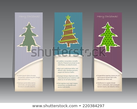 christmas label set with ripped paper christmastrees stock photo © vipervxw