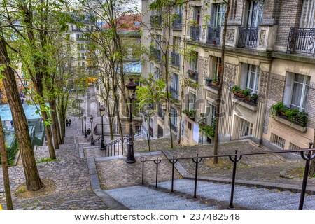 Romantikus Párizs kávézó Montmartre este Franciaország Stock fotó © anshar