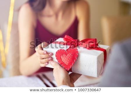 подарок Валентин красный шкатулке золото лук Сток-фото © dezign56