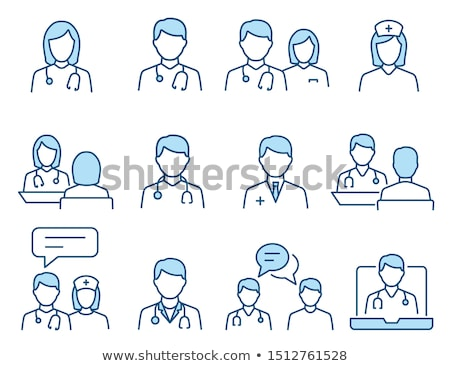 outline color medical icons set stock photo © trikona