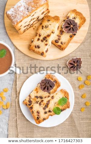 Mazsola torta izolált fehér kenyér tányér Stock fotó © designsstock