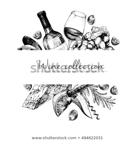 botella · de · vino · copa · de · vino · azulejo · patrón · beber · vino - foto stock © kali