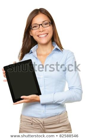 fiatal · üzletasszony · mutat · tabletta · képernyő · nők - stock fotó © deandrobot