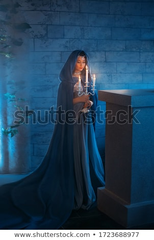 night magic fantasy girl in the castle stock photo © ankarb